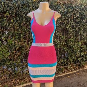 NWT Chic Ribbed Short Pink & Blue Dress (S)